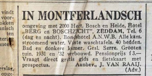 Advertentie van hotel-pension Berg en Boschzicht.